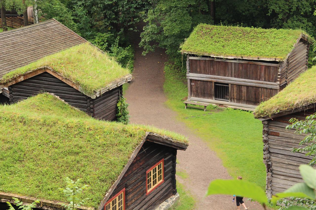 Füves háztető Norvégiában