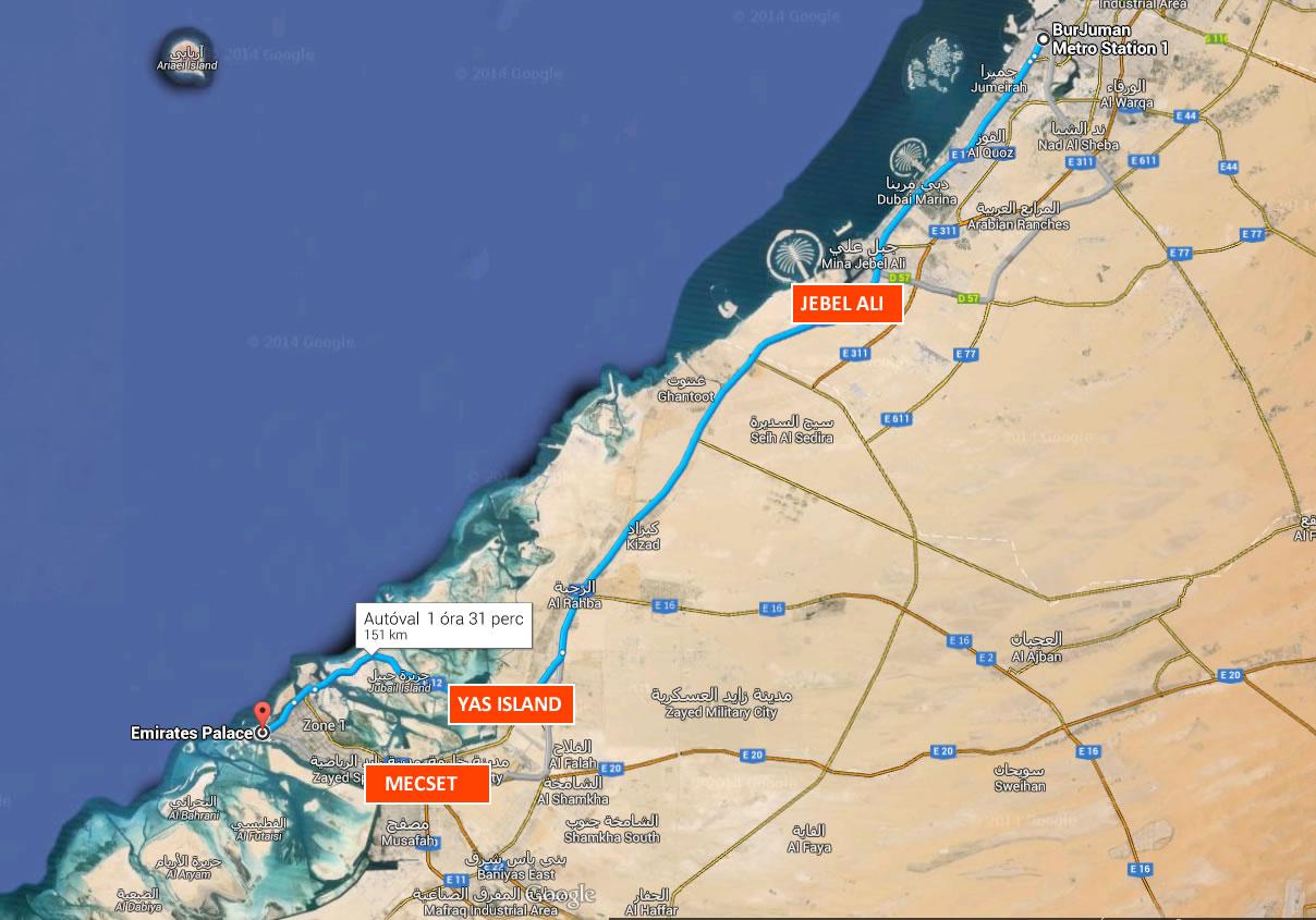 Abu Dhabi Dubai térkép