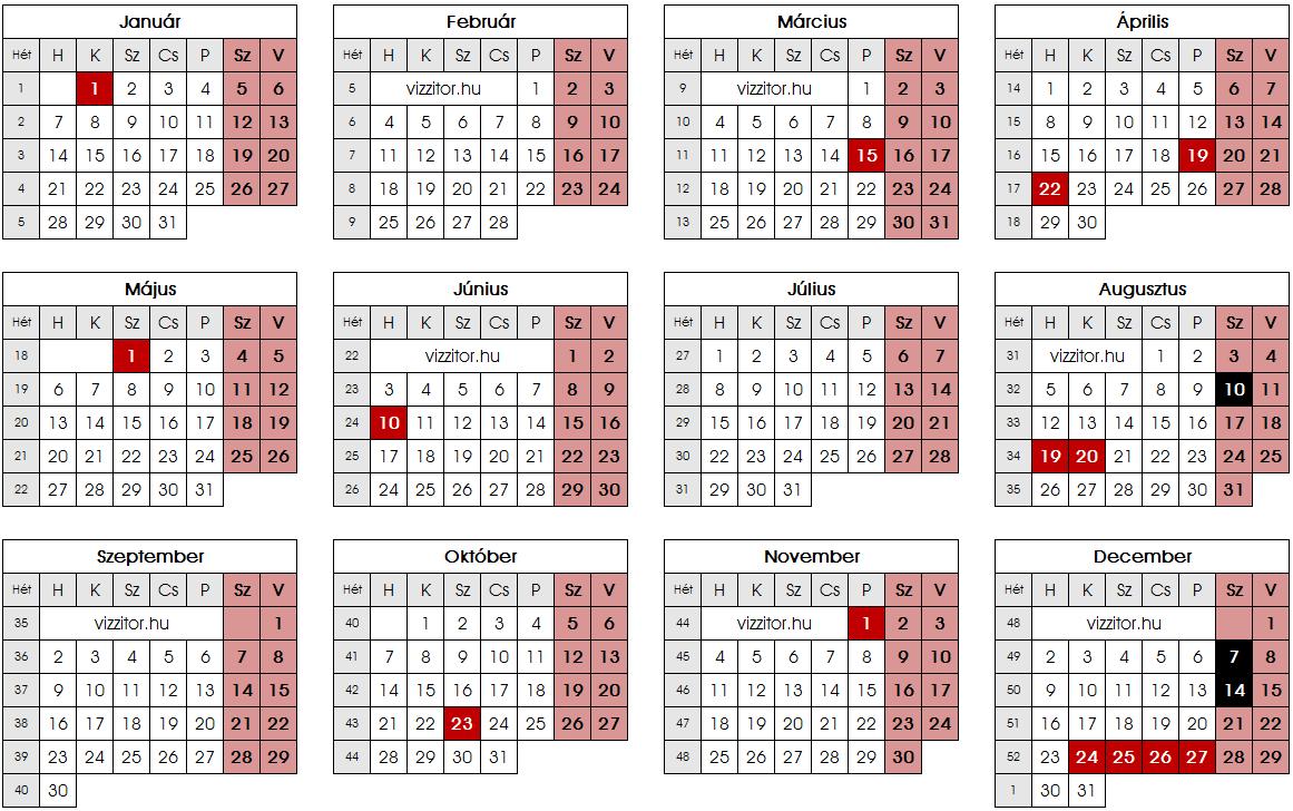 Munkaszüneti napok 2019 naptár