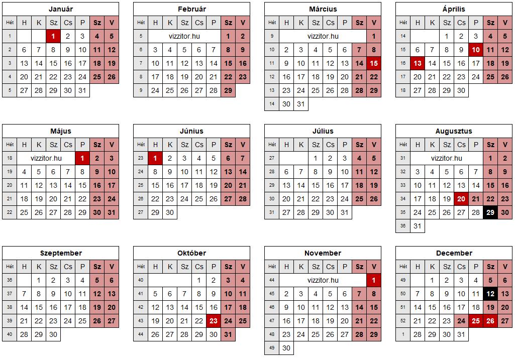 munkaszüneti napok 2020 naptár