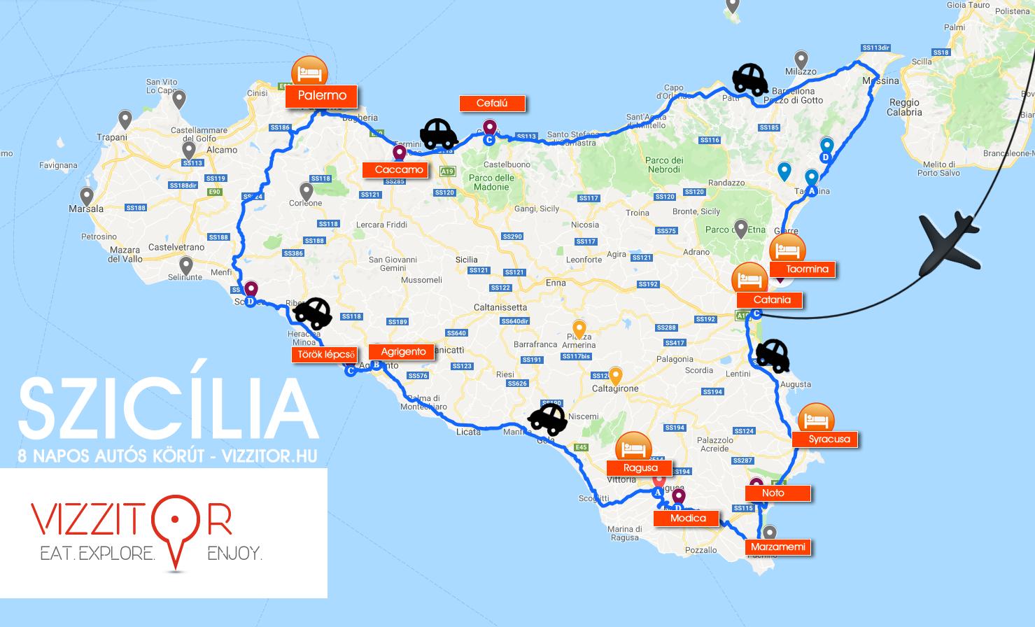 Szicília körút autóval térkép