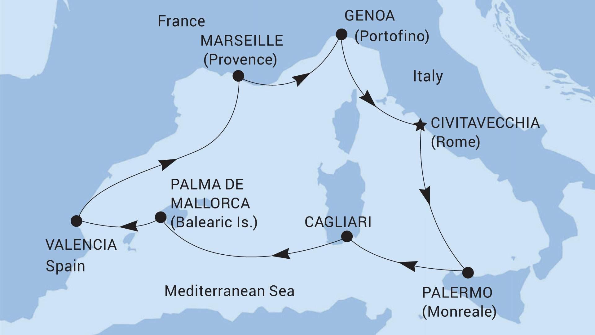 Földközi-tengeri hajóút térkép