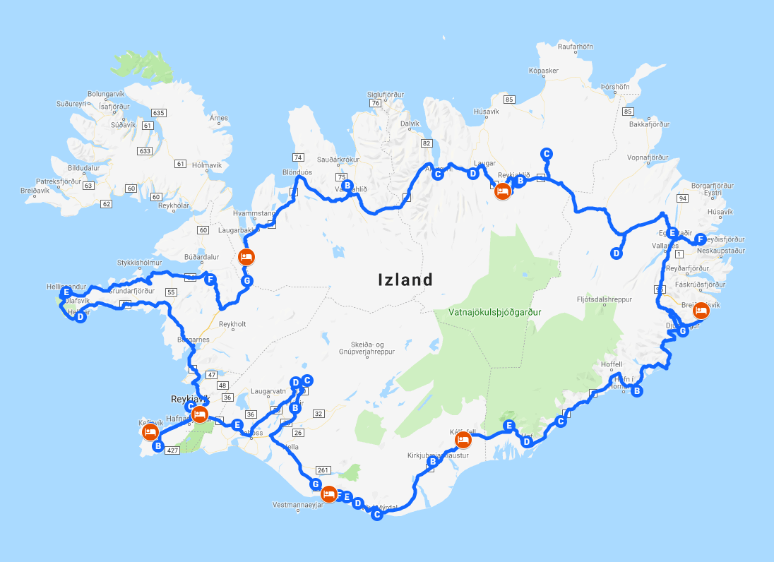 Izland utazás útvonal