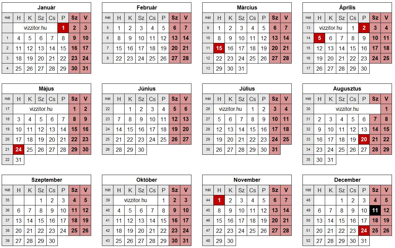 Munkaszüneti napok 2021 naptár