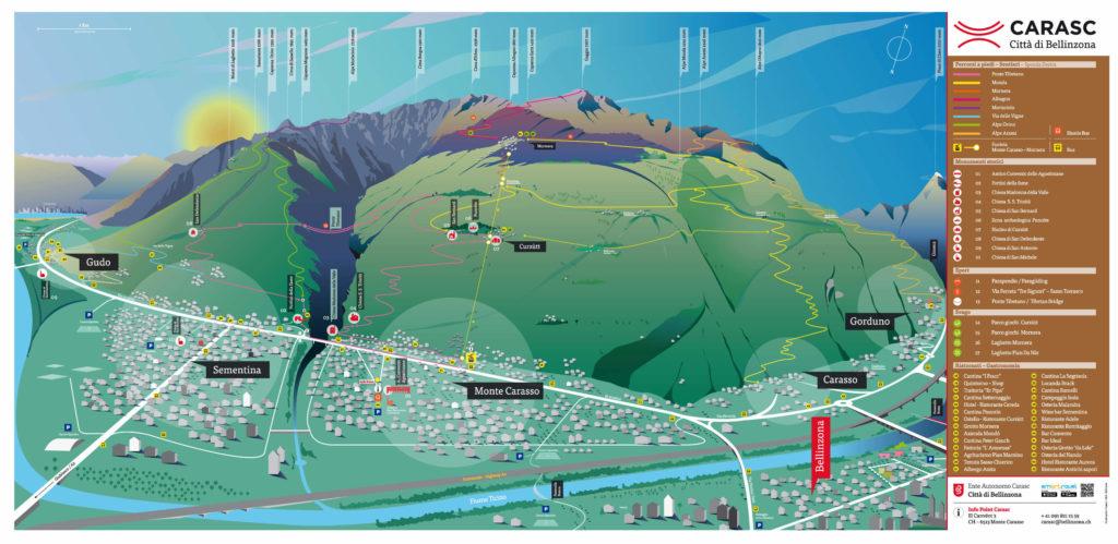 Carasc függőhíd túra útvonal térkép