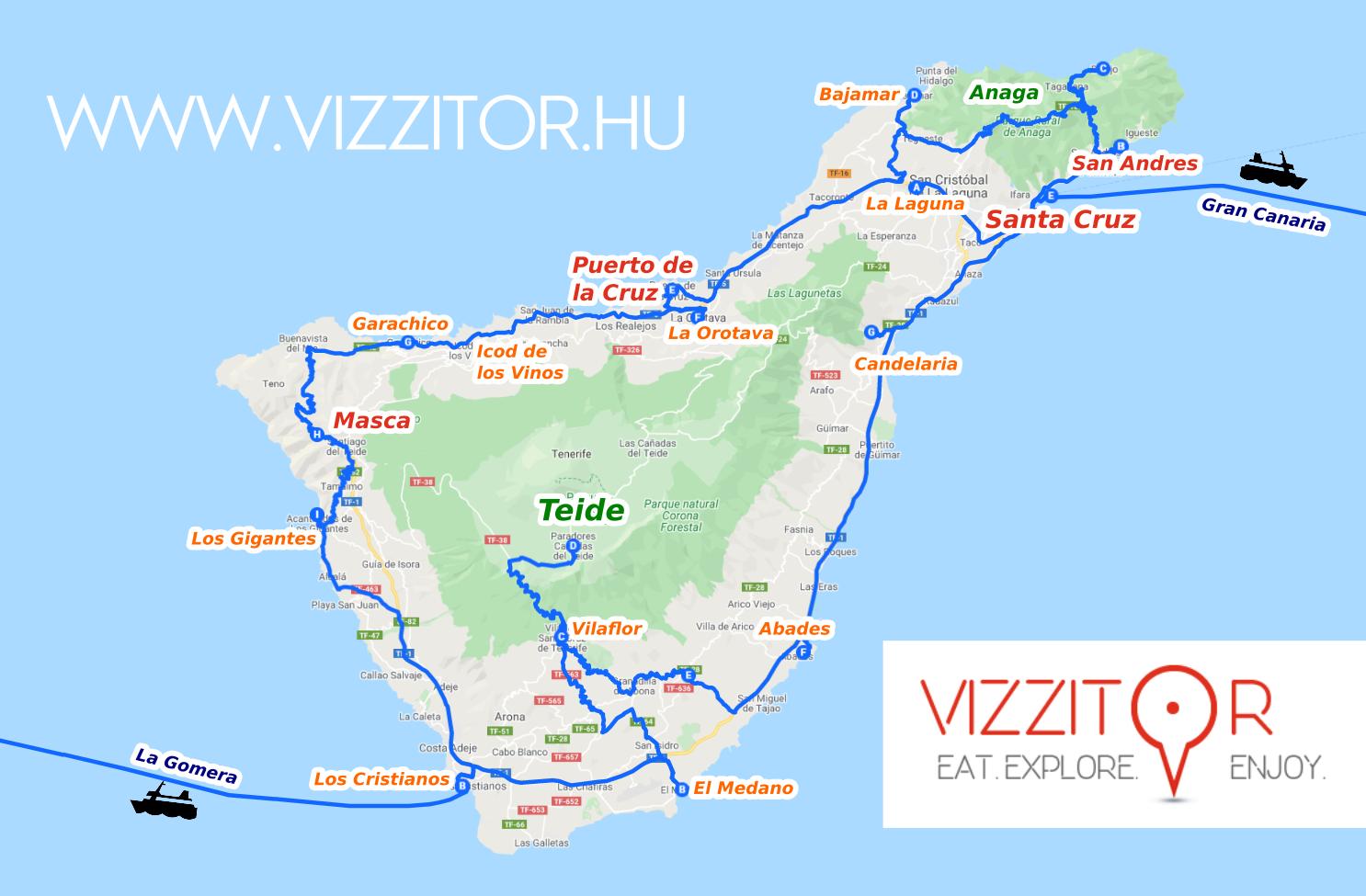 Tenerife térkép Kanári-szigetek